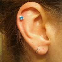 Aqua Blue Crystal Cartilage Earring Tragus Helix Piercing