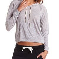 HEATHER KNIT DRAWSTRING HOODIE