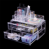 Crystal 2 Drawer Makeup Cosmetic Case Organizer Lipstick Jewelry Storage Box #04