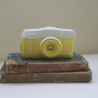Camera / Painted Camera / White Painted Camera / Yellow Camera / Upcycled Camera / White Canon Camera / Ombre Camera / Home Decor