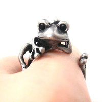 Funny Frog Animal Wrap Around Hug Ring in Silver - Size 4 to 9 Available -