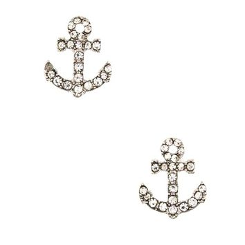 Beautiful Fashion Design Austrian Crystals Paved Nautical Anchor Stud Earrings