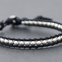 Leather Silver Beaded Bracelet