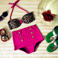 Pink Leopard Bandeau Highwaist Retro Highwaist Swimsuit Swimwear Bikini