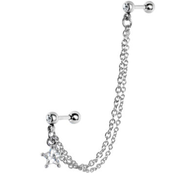 16 Gauge Double Chain Link CZ Star Cartilage Tragus Barbell Earring | Body Candy Body Jewelry