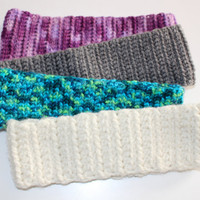 Crochet Headband Ear Warmers with or without Flower