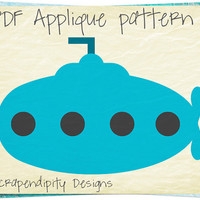 Submarine Applique Template - Ocean Applique Pattern / Infant Blanket Pattern / Submarine Quilt Pattern / Ocean Theme Nursery / DIY AP369-D