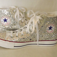 CUSTOM Bling Rhinestone Converse Chuck Talor High Top Sneakers