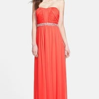 Way-In Embellished Waist Strapless Mesh Gown (Juniors) | Nordstrom