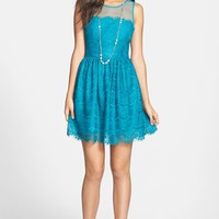 En Crème Eyelash Lace Skater Dress (Juniors) | Nordstrom