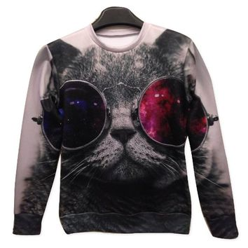Galaxy Sweatshirts Funny Punk Cat 3D Sweaters Hoodies for Women Sweater Size L
