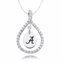 Alabama Crimson Tide Sterling Silver and White CZ Figure 8 Style Necklace