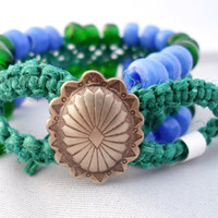 Green and Blue Macrame Hemp Cuff Bracelet