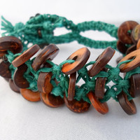 Teal and Brown Macrame Hemp Bracelet Cuff