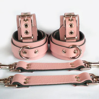 Baby Pink Leather BDSM Bondage Restraints 6 pc set with Straps & wrist ankle cuffs slave or sub