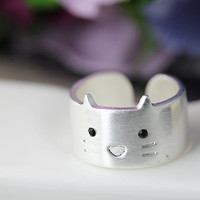 1piece Kitty Cat Ring Simple Animal Wide Open Ring Jewelry Wrap Ring Adjustable Free Size Gold Silver gift idea