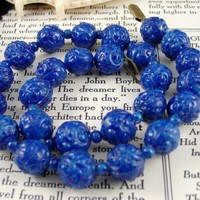 Antique Molded Blue Glass Necklace Speckled Beads Czech