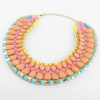 Fashion Golden Chain Water Drop Yellow Orange Rose Blue Resin Beads Choker Statement Necklace
