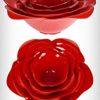 Large Red Rose Stacking Bowls | PLASTICLAND