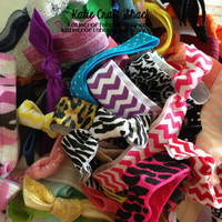 60 Stocking stuffers SALE WHOLESALE PRICING Grab bag soft elastic hair ties- random colors solid and prints (chevron, camo, polka dots)