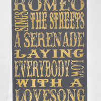Romeo and Juliet lyrics, Dire Straits - Unique Canvas Wall Art Typography,Signage, Wall Decor, Home,dorm, bedroom,