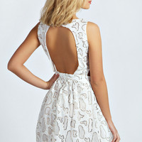Carly Animal Sequin Cut Out Side Skater Dress