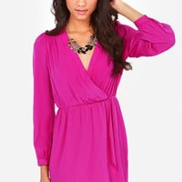 That's a Wrap Magenta Long Sleeve Dress
