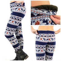 Reindeer Games Navy Leggings