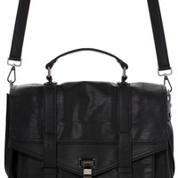 Black Faux Leather Satchel