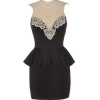 Lace Neck Dress - Kely Clothing