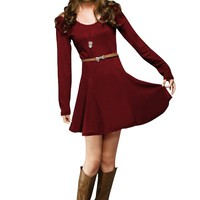 Ladies Long Sleeves Pullover Pure Autumn Mini Dress