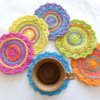 Set of 6 Funky Spring Crocheted Coasters