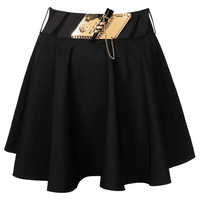 **BLACK SWING SKIRT WITH GOLD TRIM BELT BY RARE