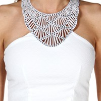 White Embellish Halter Peplum Top