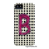 Polka Dots, B, monogrammed, Phone case, Personalized, Letter B iPhone Case, iPhone 5 case, Galaxy S3, Galaxy S4, by Ingrid Padilla