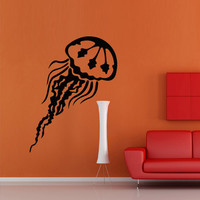 Wall decal decor decals art sticker jellyfish animal ocean sea swimming immersion (m415)