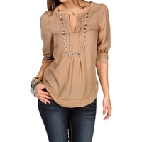 Taupe 3/4 Sleeve Studded Blouse