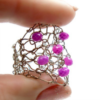 Big Hot Pink Fuschia Ring Wire Knit Jewelry Bright Titainium Metal Wide Band Ring Fun Valentine Lace Mesh Lapisbeach