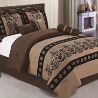 7-pieces Coffee Brown Flocked Floral Comforter Set Bed in a Bag Queen Size