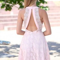 Light Pink Sleeveless Lace Dress with Open Back Detail