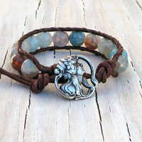 Leather Bracelet Wrap, Beachy, Boho, Mermaid, Gifts For Her, Gifts under 30, Stacking Bracelet, Ocean Jewelry, Single Wrap