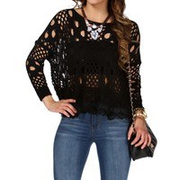Black Open Knit Lace Sweater