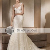 Applique V Neck Court Mermaid Bridal Gown Wedding Dress, Europe - DinoDirect.com
