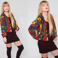 Vintage 80s COOGI Button-Up Sweater RAINBOW Color TEXTURED Stripe Crop Cardigan