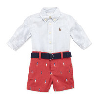 Striped Oxford & Schiffli Shorts Set, 9-24 Months