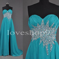 Long Ice Blue Empire Waist Beaded Prom Dresses Homecoming Dresses Evening Dresses 2014 New Fashion