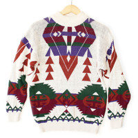 Vintage 90s Southwestern Tribal Aztec Tacky Ugly Sweater