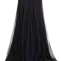 Lace Paneled Full Pleated Sleeveless Gown