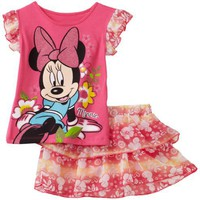 Disney Baby-Girls Infant Minnie Floral 2 Piece Skooter Set