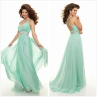 Long Aqua Formal Cocktail Evening Dress Bridal Gown Bridesmaid Dress/Prom Gowns